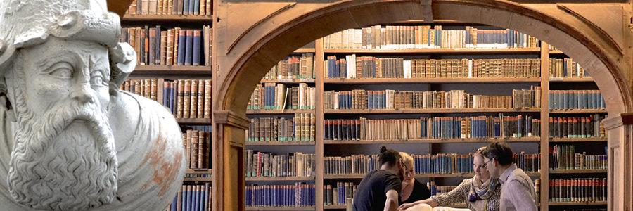 Männlicher Kopf von hausportal und Raum mit Bücherregalen